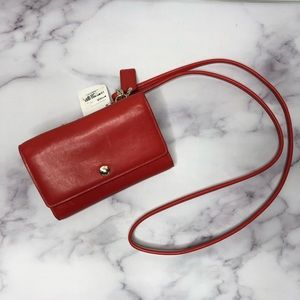 NWT: COACH Smooth Leather Phone Red Crossbody